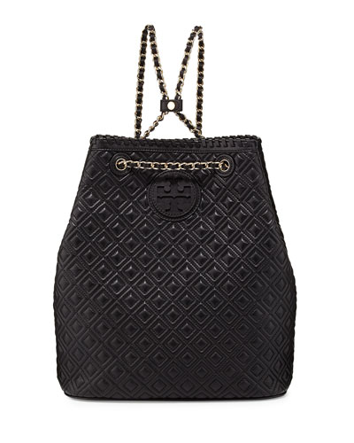 Tory Burch Marion Quilted Leather Backpack, Black