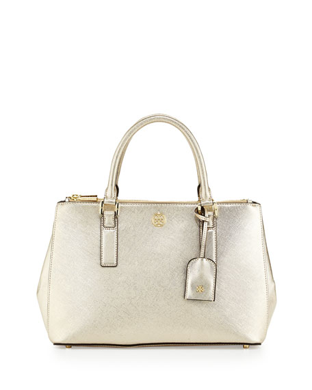 Robinson Metallic Mini Double-Zip Tote Bag, Gold