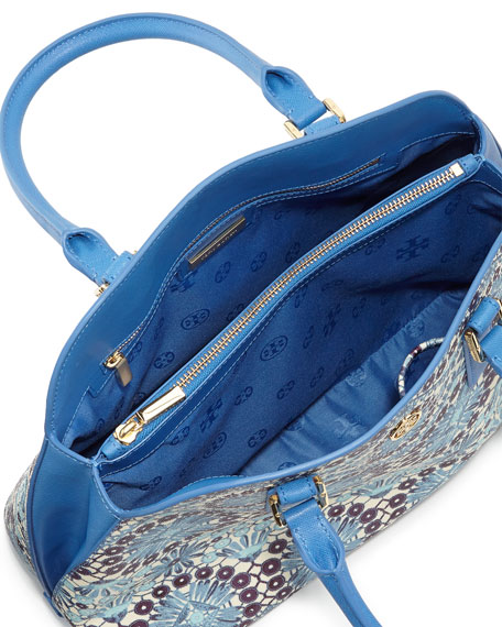 Robinson Open-Top Dome Satchel Bag, Blue Bahama Multi