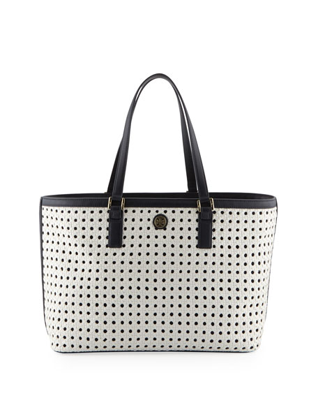 Robinson Basketweave Tote Bag, White/Tory Navy