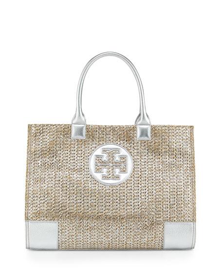Tory Burch Ella Metallic Straw Tote Bag, Natural/Silver