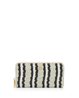 Tory Burch Snake-Print Continental Zip Wallet, Ivory/Black