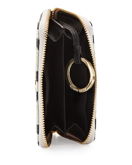Snake-Print Zip Coin Case, Ivory/Black