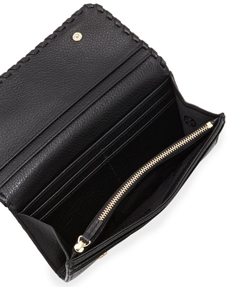 Marion Whipstitch Continental Flap Wallet, Black