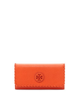 Tory Burch Marion Whipstitch Continental Flap Wallet, Equestrian Orange