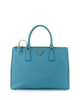Prada Saffiano Small Double-Zip Executive Tote Bag, Turquoise (Turchesse)