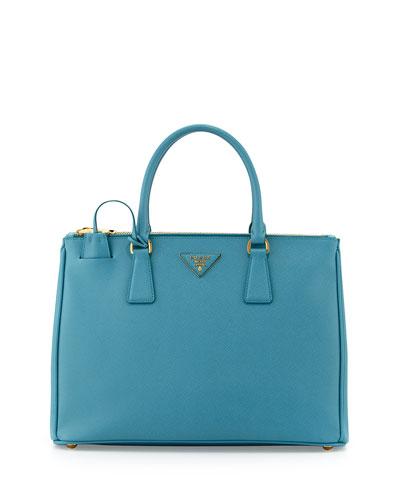 Prada Saffiano Double-Zip Executive Tote Bag, Turquoise (Turchesse)