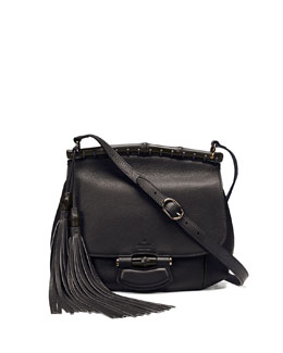 Gucci Nouveau Medium Leather Crossbody Bag, Nero