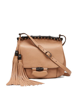 Gucci Nouveau Medium Leather Crossbody Bag, Camel