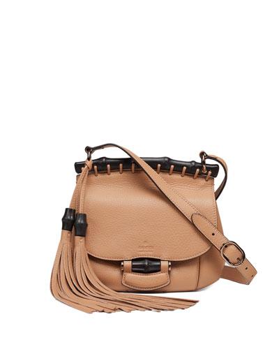 Gucci Nouveau Small Leather Crossbody Bag, Camel