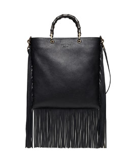 Gucci Nouveau Bamboo Leather Fringe Tote Bag, Nero