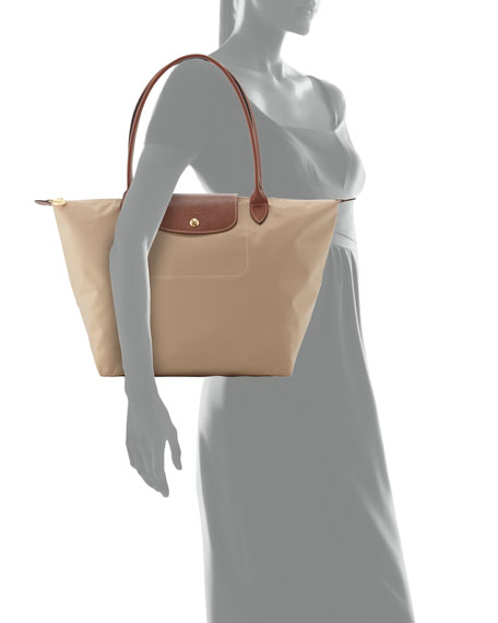 Le Pliage Large Shoulder Tote Bag, Beige
