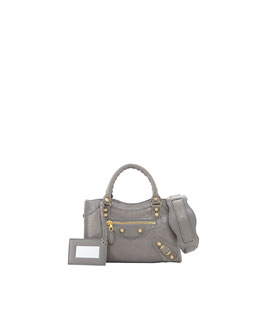 Balenciaga Giant 12 Golden Mini City Bag, Dark Gray