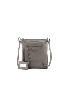 Balenciaga Classic Flat Crossbody Bag, Light Gray