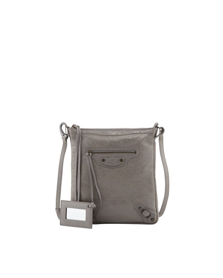 Classic Flat Crossbody Bag, Light Gray
