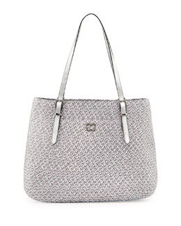 Eric Javits Squishee Jav II Metallic Tote Bag, Gray