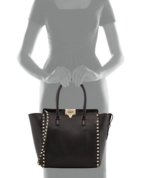 Rockstud Shopper Tote Bag, Black