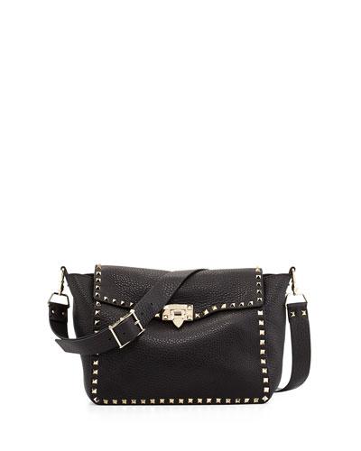Valentino Rockstud Flap Crossbody Bag, Nero