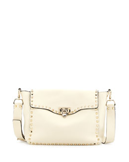 Valentino Rockstud Flap Crossbody Bag, Light Ivory