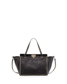 Valentino Rockstud East-West Tote Bag, Nero