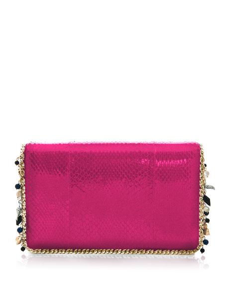 Claire Snakeskin Flap Clutch Bag, Fuchsia