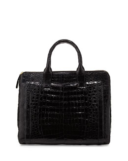 Nancy Gonzalez Modern Double-Zip Crocodile Tote Bag, Black