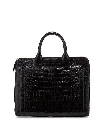 Nancy Gonzalez Modern Double-Zip Crocodile Tote Bag, Black