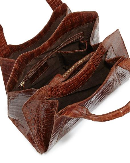 Crocodile Satchel Bag, Cognac