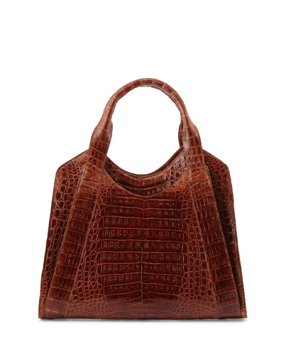 Nancy Gonzalez Crocodile Satchel Bag, Cognac
