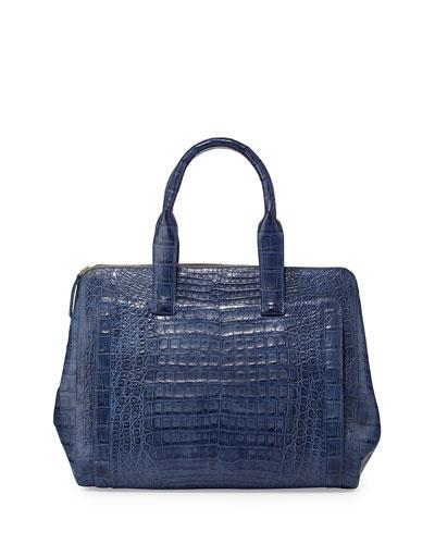 Nancy Gonzalez Crocodile Large Zip Tote Bag, Denim