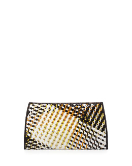 Nancy Gonzalez Woven-Front Crocodile Clutch Bag, Black/White/Yellow