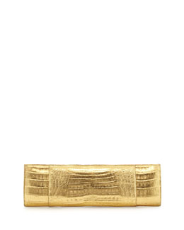 Nancy Gonzalez Slicer Slim Metallic Crocodile Clutch Bag, Gold