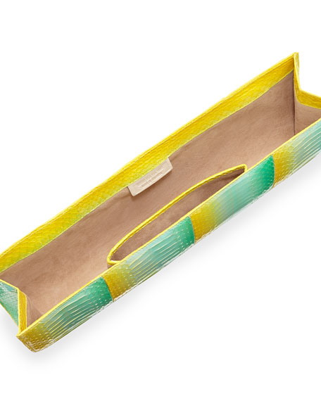 Crocodile Slicer Clutch Bag, Yellow Degrade,