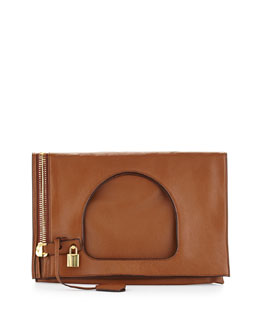 Tom Ford Alix Small Padlock & Zip Shoulder Bag, Caramel
