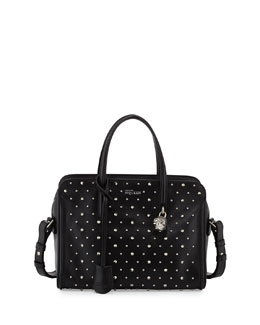 Alexander McQueen Studded Padlock Small Satchel Bag, Black