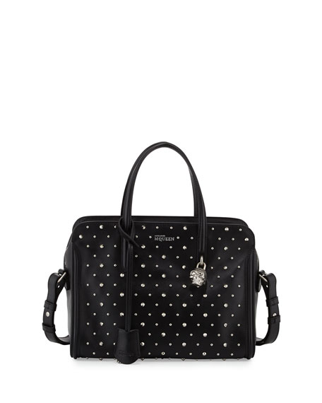 Studded Padlock Satchel Bag, Black