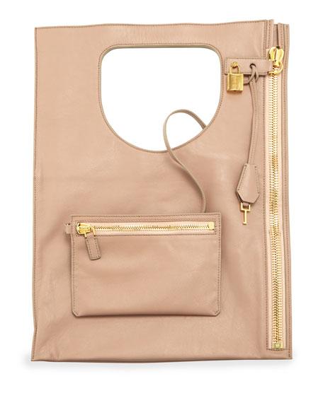 Alix Small Padlock & Zip Shoulder Bag, Blush Nude