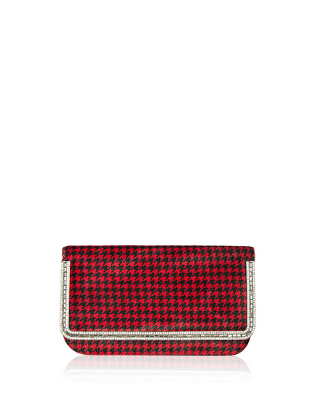Carmichael Calf Hair Clutch Bag, Black/Red