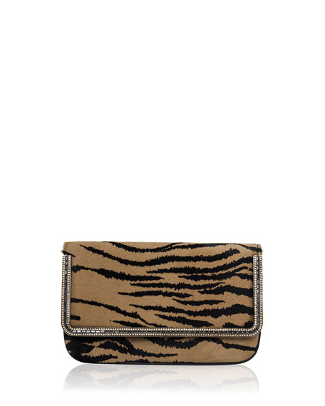 Carmichael Calf Hair Clutch Bag, Brown Multi