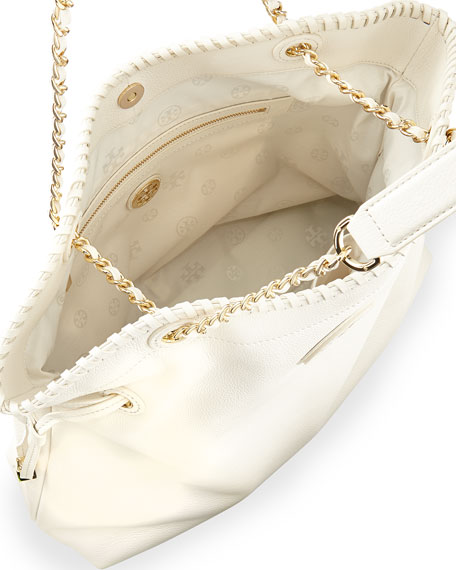 Marion Slouchy Drawstring Tote Bag, New Ivory