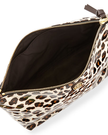 Leopard-Print Large Slouchy Cosmetic Case