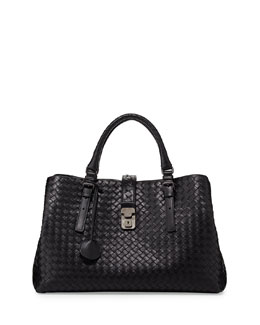 Bottega Veneta Roma Medium Woven Compartment Tote Bag, Nero
