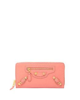 Balenciaga Giant Golden Continental Zip Wallet, Rose Azalee