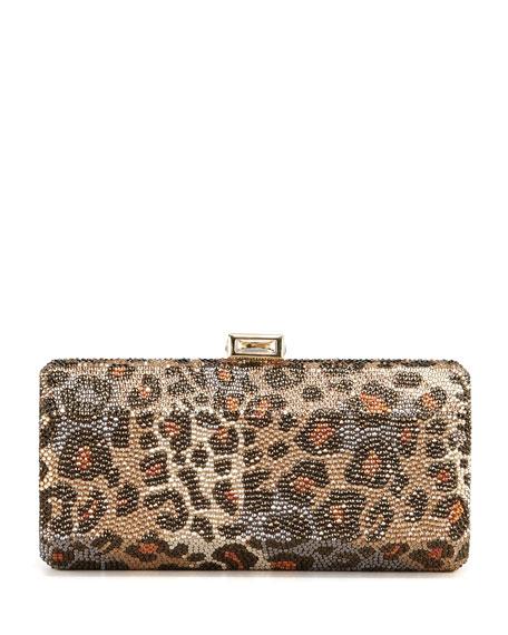 Leopard-Print Hexagonal Clutch Bag