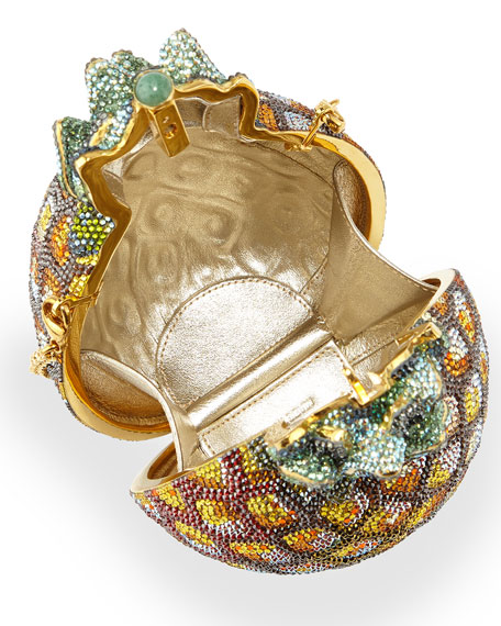 Crystal Pineapple Minaudiere, Gold Multi