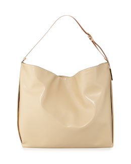 Stella McCartney Faux-Napa Big Shoulder Bag, Champagne