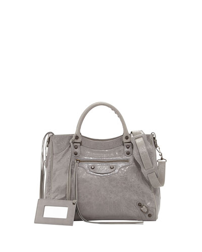Balenciaga Classic Velo Crossbody Bag, Light Gray