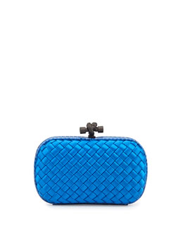 Bottega Veneta Woven Satin Knot Minaudiere, Royal Blue