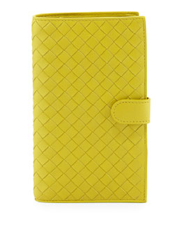 Bottega Veneta Woven Continental Wallet, Chartreuse Yellow