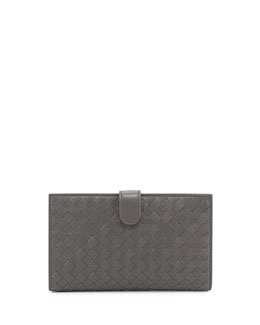 Bottega Veneta Woven Continental Wallet, New Light Gray